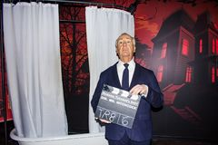 Alfred Hitchcock wax statue, Madame Tussaud`sVienna. Sir Alfred Joseph Hitchcock KBE was an English film director and producer, widely regarded as one of the royalty free stock image
