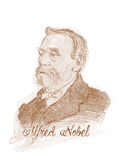 Alfred Nobel Engraving Style Sketch Portrait. For editorial use Royalty Free Stock Photos