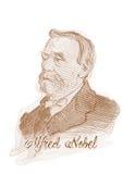 Alfred Nobel gravyr utformar skissar ståenden Royaltyfria Foton