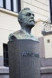 Alfred Nobel at the Norwegian Nobel Institute. Statue of Alfred Nobel outside the Norwegian Nobel Institute in Oslo, Norway Royalty Free Stock Images
