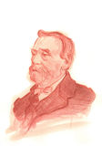 Alfred Nobel Watercolour Sketch Portrait. For editorial use Stock Photos