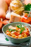 Alfredo pasta sauce with butternut squash, garlic and Parmesan .selective focus royalty free stock image