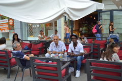 Alfredo Torres in street cafe,Plovdiv Royalty Free Stock Images