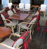 Alfresco bar with tartan covers Royalty Free Stock Images