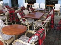 Alfresco bar z tartan pokrywami Fotografia Royalty Free