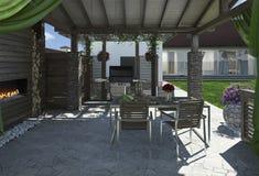 Alfresco bosatt område, 3d framför Royaltyfria Foton