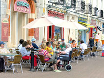 Alfresco cafe culture, Torquay, Devon. Stock Photos