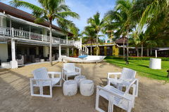Alfresco dining area at a beach side resort Royalty Free Stock Images