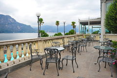 Alfresco dining area of grand hotel in Como, Italy Stock Photo