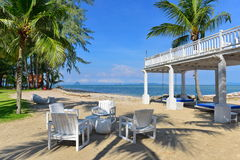 Alfresco dining area of a tropical beach resort royalty free stock photo