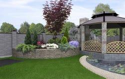 Alfresco living area, 3d render Royalty Free Stock Photo