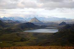 Alftavatn lake, Iceland. The scenic  landscape of middle part Landmannalaugar trek with Alftavatn lake Stock Photo