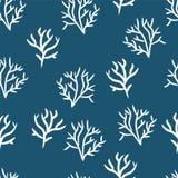 Alga su un fondo della marina Modello senza cuciture delle piante marine Fondo di vettore con le piante del unerwater illustrazione di stock