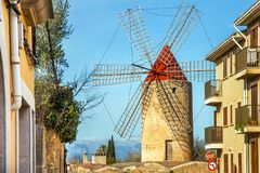 Algadia, Mallorca, Spain, An old windmill in the city. Algadia, Mallorca, Spain, December 17, 2018 An old windmill in the city stock photography