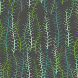 Algae seamless pattern. Green long Plant into  sea or a lake. Ve Stock Photo
