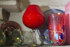 Mallorca. Algaida Es Pla, Majorca / Spain - August 25, 2016: A colorful glass created at handmade glass manufacturing factory Guardiola, Algaida Es Pla, Mallorca royalty free stock image