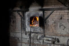 Mallorca. Algaida Es Pla, Majorca / Spain - August 25, 2016: The furnace at handmade glass manufacturing factory Guardiola, Algaida Es Pla, Mallorca, Balearic royalty free stock images