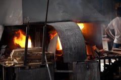Mallorca. Algaida Es Pla, Majorca / Spain - August 25, 2016: The furnace at handmade glass manufacturing factory Guardiola, Algaida Es Pla, Mallorca, Balearic stock photo