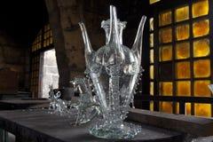 Mallorca. Algaida Es Pla, Majorca / Spain - August 25, 2016: A vase created at handmade glass manufacturing factory Guardiola, Algaida Es Pla, Mallorca, Balearic stock images
