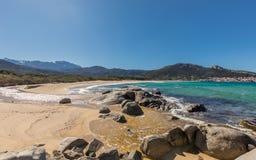 Algajolastrand in Balagne-gebied van Corsica Stock Afbeelding