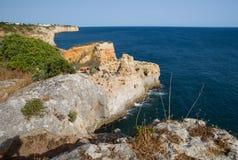 Algar Seco in the Algarve in Portugal royalty free stock photo