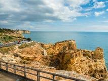 Algar Seco Cliff Walk, Carvoeiro, Portugal Royaltyfri Bild