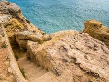 Algar Seco Cliff Walk, Carvoeiro, Portugal Arkivfoto