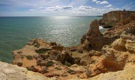 Algar Seco på Carvoeiro, Algarve Arkivfoto