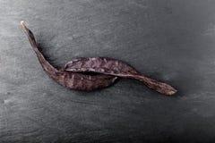 Algarroba en una placa de piedra Imagen de archivo libre de regalías