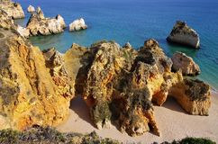 Algarve beach Dos Tres Irmaos Royalty Free Stock Photography