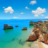 Algarve beach Dos Tres Irmaos Portugal. Royalty Free Stock Photography