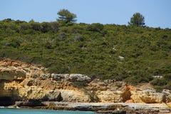 The Algarve a beautiful road trip in Portugal - Beautiful cliffs  - Side view. The Algarve a beautiful road trip in Portugal Royalty Free Stock Photos