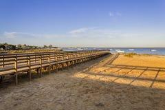 Algarve Cavacos beach twilight landscape at Ria Formosa wetlands Royalty Free Stock Photos