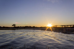 Algarve Cavacos beach twilight landscape at Ria Formosa wetlands Royalty Free Stock Photos