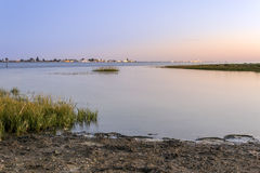Algarve Cavacos beach twilight landscape at Ria Formosa wetlands Royalty Free Stock Images