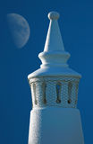 Algarve Chimney. Traditional Algarve chimney with the moon behind royalty free stock photos