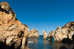 Algarve cliffs in portugal Stock Image