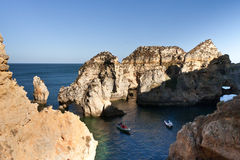 Algarve cliffs in portugal Royalty Free Stock Photography