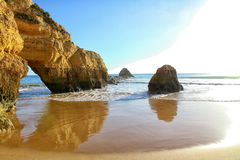 Algarve Coast and Beach. With famous rock formation, Portugal stock photo