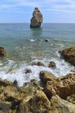 Algarve coast. Cliffs and rocky shore in Algarve, Portugal Royalty Free Stock Photos