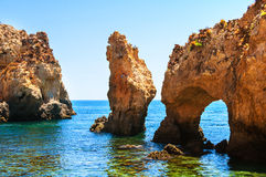 Algarve coastline in Portugal. Rocks and Sea in Lagos Stock Images