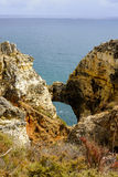 Algarve. Colourful Rock formation in The Algarve Royalty Free Stock Photo