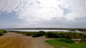 Algarve golfbanalandskap på Ria Formosa portugal (Pan Timelapse) lager videofilmer