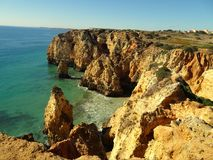 Algarve at Lagos Portugal. Algarve at Lagos in Portugal one of the most beautiful landscapes in the world Royalty Free Stock Image