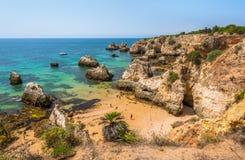 Scenic golden cliffs near Alvor, Portimao, Algarve Stock Image