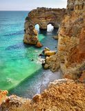 Algarve Portugal, Coast Beach. Remarcable Algarve coast with beach, cliffs and caves.  Portugal Royalty Free Stock Photography