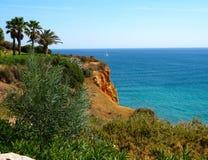 Algarve, Portugal Sea Cliff stock afbeelding