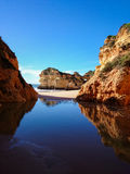Algarve Reflection. Algarve beach and cliffs, Portugal 2014 Stock Images