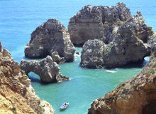 Algarve rocky coast Royalty Free Stock Images