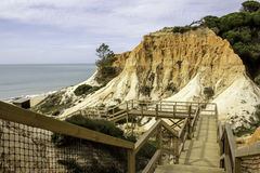 Algarve scenario footpatch cliff acess, at Falesia beach. Albufeira, Portugal Royalty Free Stock Image